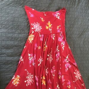 Strapless Red Dress Floral Design from Express